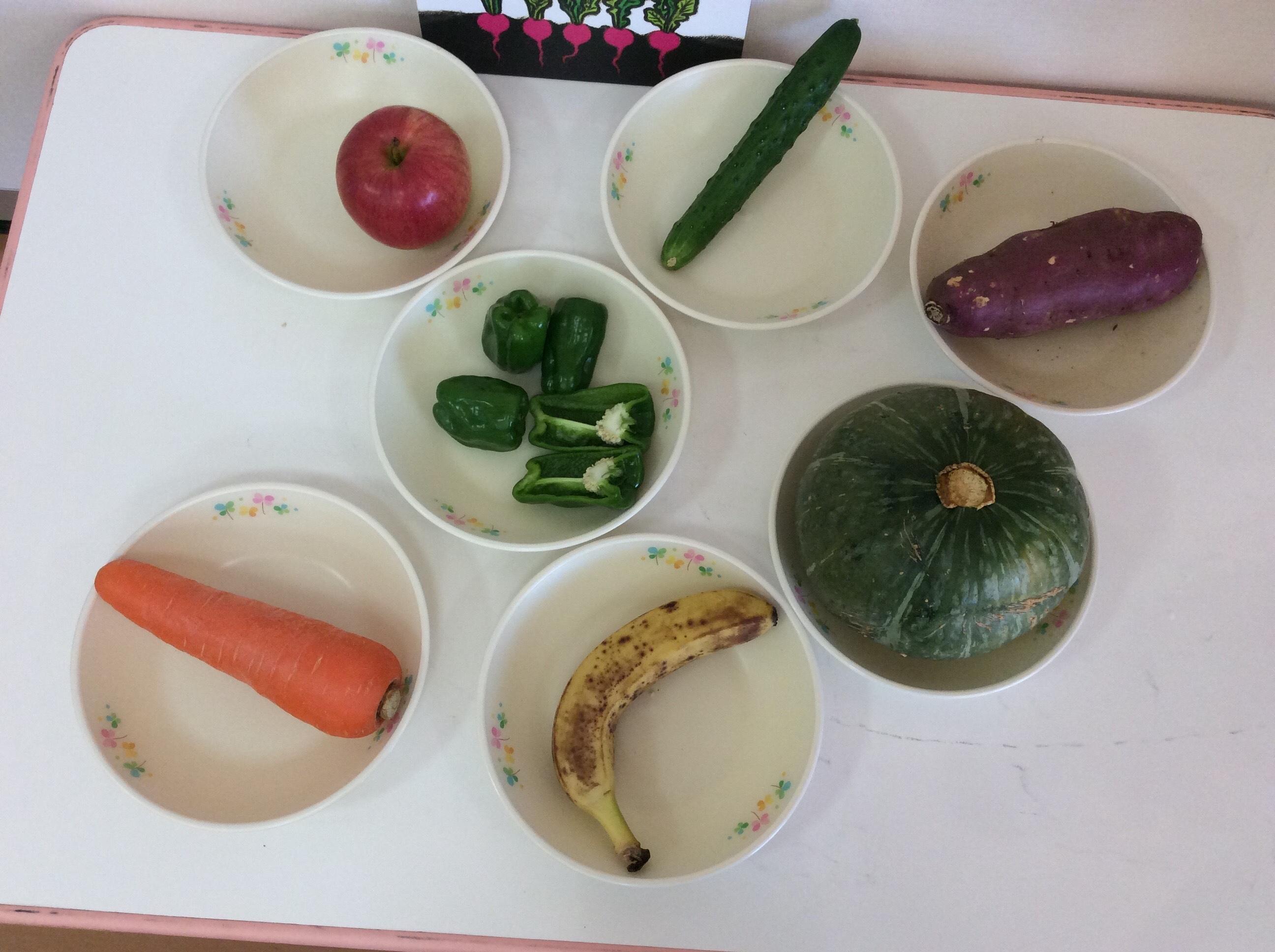 1歳児みかん組  食育活動「食材を触ってみよう✋」